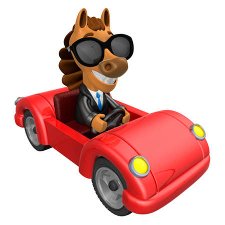 newyear: Driving a Red sports car in 3D Horse character. 3D Animal Character Design Series. Stock Photo