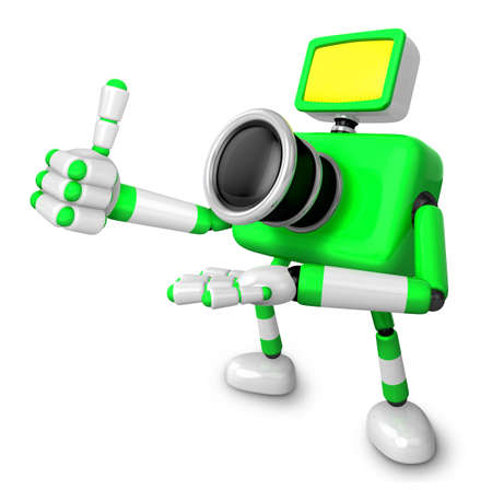 The Yellow Camera Character in Dynamic photos of the jump shot camera. Create 3D Camera Robot Series. Stock Photo