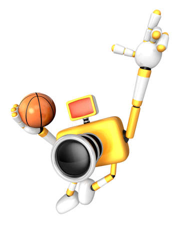 3D Yellow camera basketball player Vigorously jumping. Create 3D Camera Robot Series.