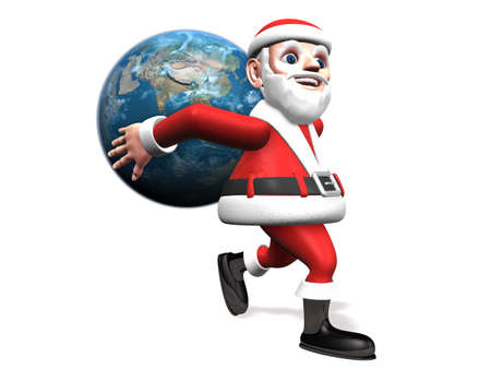 solid: 3d santa taking the earth on the his back Stock Photo