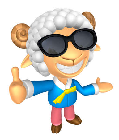 Wear sunglasses 3D Sheep mascot the left hand guides and the right hand best gesture. 3D Animal Character Design Series.