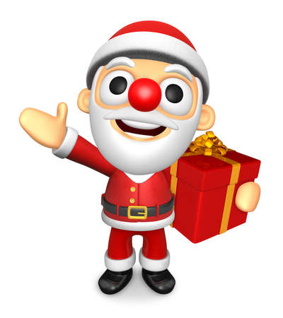 3D Santa mascot the left hand guides and the right hand is holding a Gift Box. 3D Christmas Character Design Series.