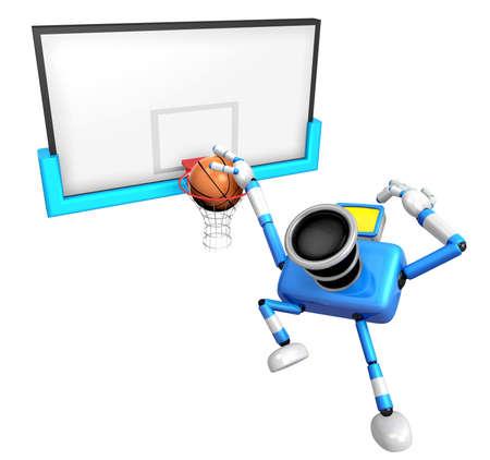 3D Blue camera basketball player Vigorously jumping. Create 3D Camera Robot Series. Stock Photo