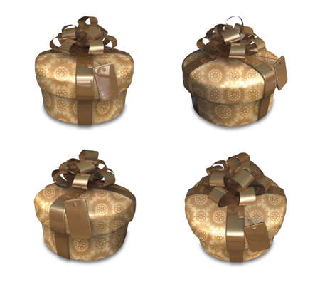 3D golden gift box set in a round. 3D Icon Design Series.