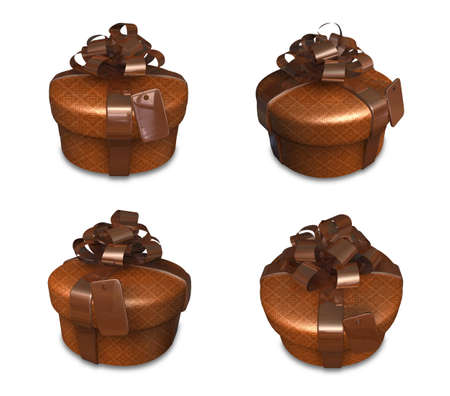 3D brown round gift box set. 3D Icon Design Series. Stock Photo