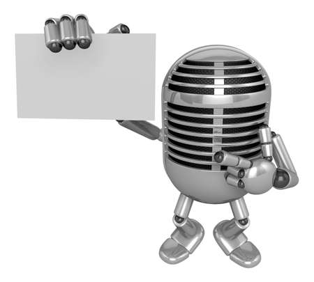 apprehension: 3D Classic Microphone Mascot the right hand guides and the left hand is holding a business cards. 3D Classic Microphone Robot Character Series.