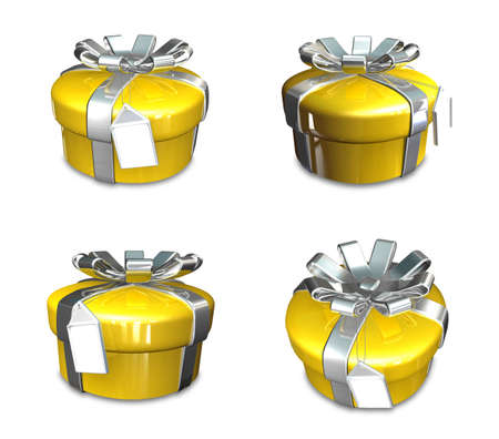3D yellow round gift box set. 3D Icon Design Series. Stock Photo
