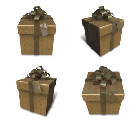 3D golden gift box set in a square. 3D Icon Design Series. Stock Photo
