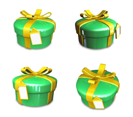 3D yellow-green round gift box set. 3D Icon Design Series.