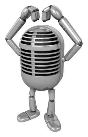 classical mechanics: 3D Classic Microphone Mascot gesture of love in To the left toward. 3D Classic Microphone Robot Character Series.