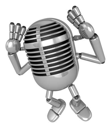3D Classic Microphone Mascot gesture of both hands to hear that. 3D Classic Microphone Robot Character Series.