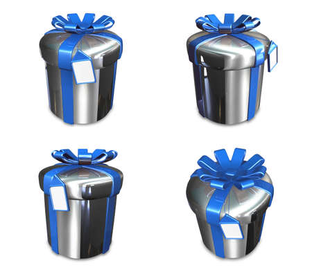 3D silver round gift box set. 3D Icon Design Series.