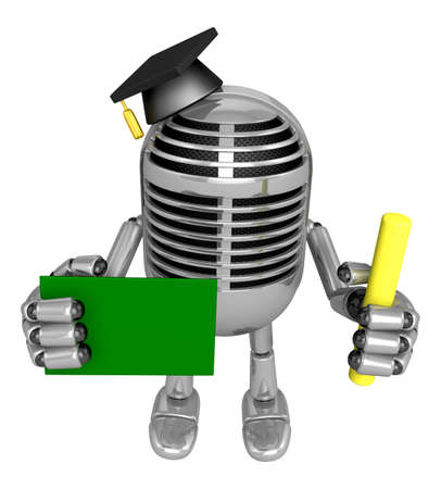 3D Classic Microphone Mascot hand is holding a Chalk and Chalkboard. 3D Classic Microphone Robot Character Series.
