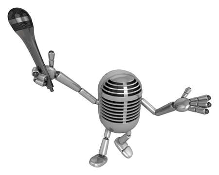 classical mechanics: 3D Classic Microphone Mascot the hand is holding a Mic. 3D Classic Microphone Robot Character Series.