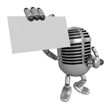 3D Classic Microphone Mascot the right hand guides and the left hand is holding a business cards. 3D Classic Microphone Robot Character Series.