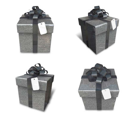 3D silver color gift box set in a square. 3D Icon Design Series.
