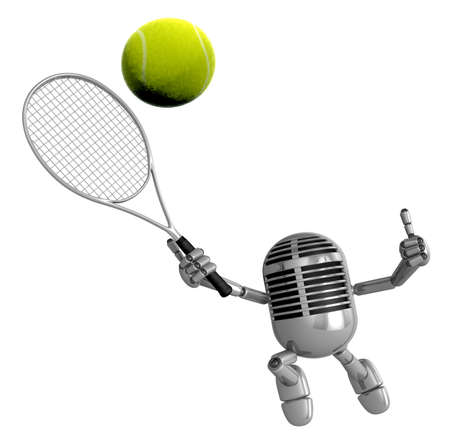 classical mechanics: 3D Classic Microphone is a powerful tennis game play exercises. 3D Classic Microphone Robot Character Series. Stock Photo