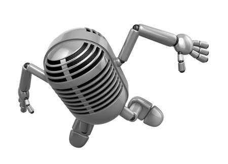 3D Classic Microphone Mascot to be powerful and jumping. 3D Classic Microphone Robot Character Series. Stok Fotoğraf - 83210313