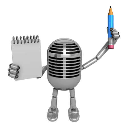 classical mechanics: 3D Classic Microphone Mascot hand is holding a notebook and Pencil 3D Classic Microphone Robot Character Series.