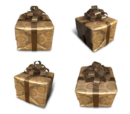3D golden gift box packaging. 3D Icon Design Series.