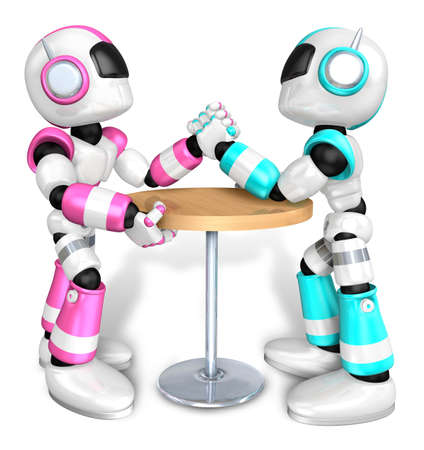 Scientology robot arm wrestling showdown with magenta Robot Stock Photo