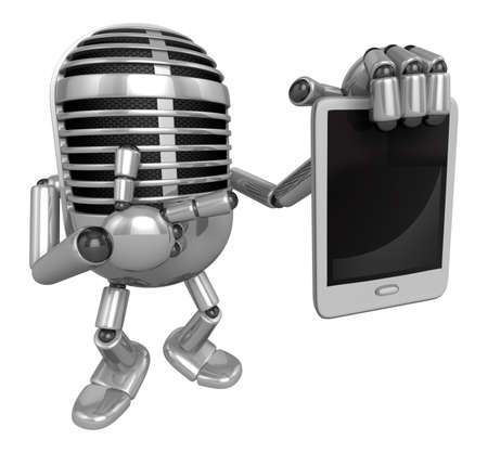 classical mechanics: 3D Classic Microphone Mascot the right hand is holding a tablet PC. 3D Classic Microphone Robot Character Series. Stock Photo