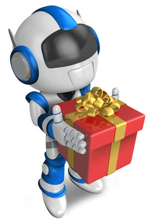cowardice: Blue robot holding a gift faintheartedly. 3D Robot Character Stock Photo