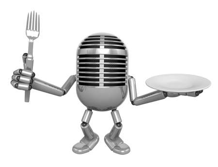 classical mechanics: 3D Classic Microphone Mascot hand is holding a Fork and Plate. 3D Classic Microphone Robot Character Series.