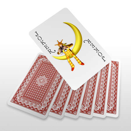 3d joker embossing on playing cards Stock Photo