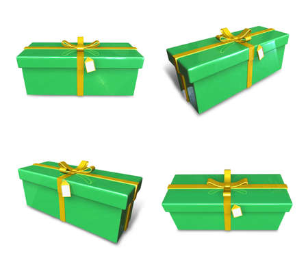 3D gift box set in lime green rectangle. 3D Icon Design Series.