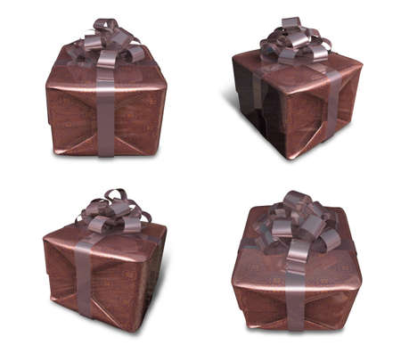 3D Brown wrapped gift box set. 3D Icon Design Series.