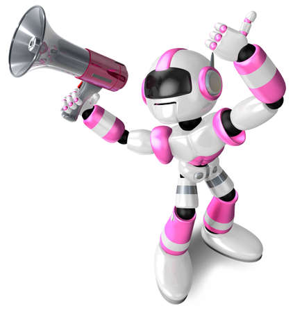 loudspeaker: The pink robot in to promote Sold as a loudspeaker. 3D Robot Character