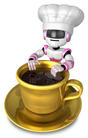 Leaning on a coffee mug with the Gold chef. 3D Robot Character