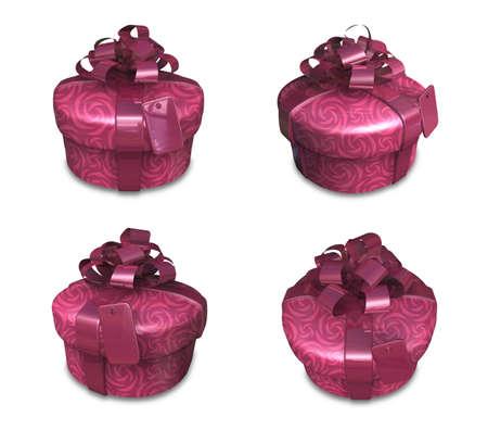 3D Purple Round gift box set. 3D Icon Design Series. Stock Photo