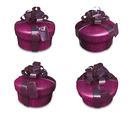 3D Purple Round gift box set. 3D Icon Design Series. Stock Photo