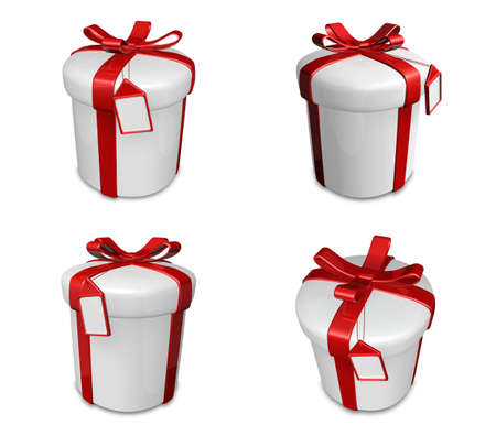 3D white gift box set in a round. 3D Icon Design Series.
