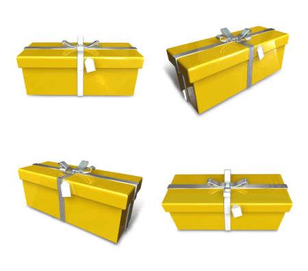 3D yellow rectangular gift box set. 3D Icon Design Series.