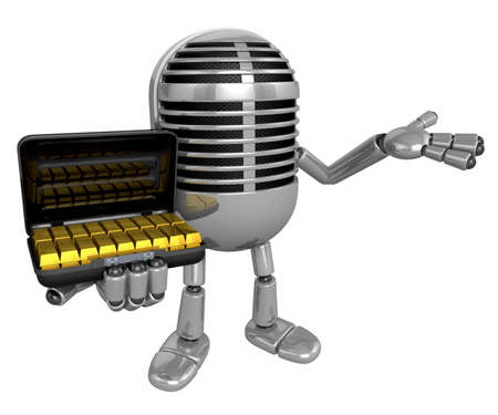 3D Classic Microphone Mascot the left hand guides and the right hand is holding a Gold bar bag. 3D Classic Microphone Robot Character Series.