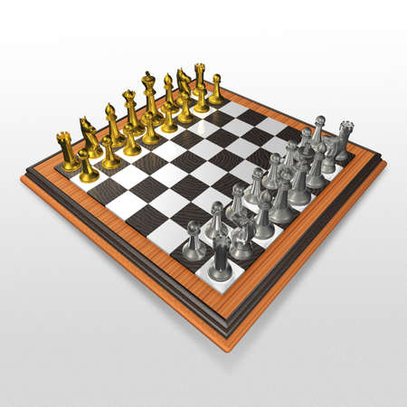 chessman: 3d two color chessmans on the chessboard