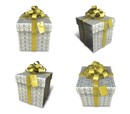 3D Dollar pattern with gift box set in a square. 3D Icon Design Series.