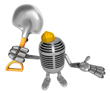 3D Classic Microphone Mascot the hand is holding a shovel. 3D Classic Microphone Robot Character Series.