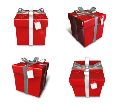 3D red color gift box set in a square. 3D Icon Design Series. Stock Photo