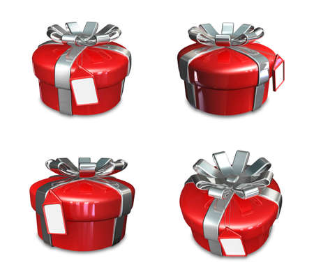 3D red color round gift box set. 3D Icon Design Series.