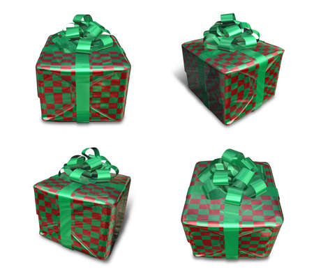 3D check pattern wrapped gift box set. 3D Icon Design Series.