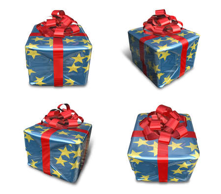 3D star pattern wrapped gift box set. 3D Icon Design Series. Stock Photo