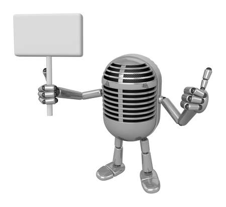 3D Classic Microphone Mascot the right hand best gesture and left hand is holding a picket. 3D Classic Microphone Robot Character Series.
