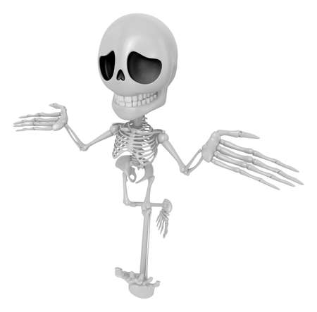 stupidity: 3D Skeleton Mascot is doing not to understand gestures. 3D Skull Character Design Series.