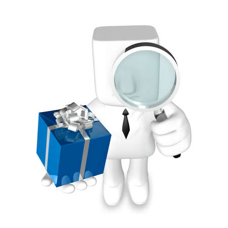 one 3d business man giving a present with magnifier