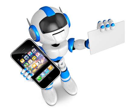 Personaje de robot azul Smart Phone la celebración de la mano izquierda. tarjeta de visita con su mano derecha. Cree la serie del robot de Humanoid 3D. Foto de archivo