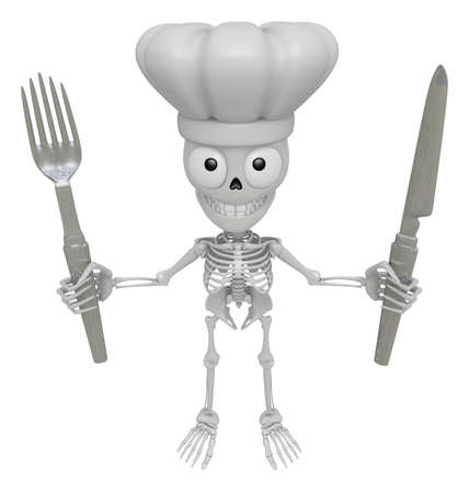 3D Skeleton Mascot hand is holding a Fork and Knife. 3D Skull Character Design Series. Stock Photo